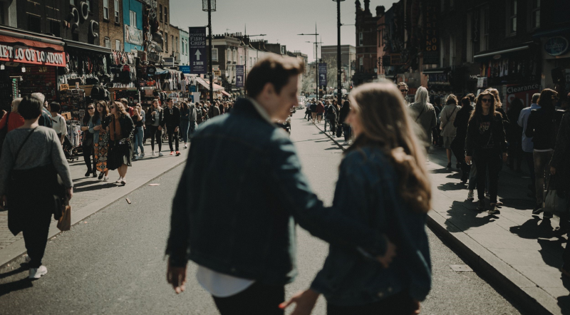 Joseph and Gabriella engagement session in the streets of London